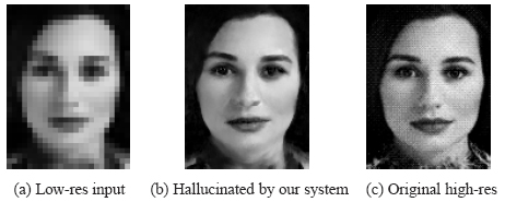 'Face hallucination' -  Creating high quality face images from low-resolution inputs, by using algorithms with prior information about typical facial features.